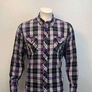 OP Ocean Pacific Purple Black White Plaid Shirt M